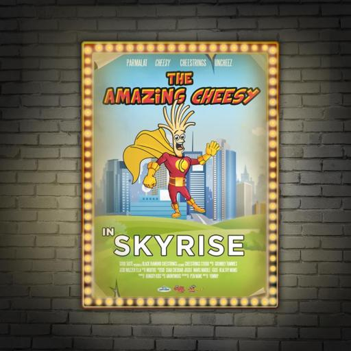 Faster than a sprinting Bolt! More powerful than gravitational pull! Able to leap tall buildings in a single bound! Look! Up on the screen! It's a snack! It's a source of calcium! It's The Amazing Cheesy! Bounding into a theatre near you is Cheesy, starring as The Amazing Cheesy in Skyrise! Cheesy's Movie Madness post for Cheestrings